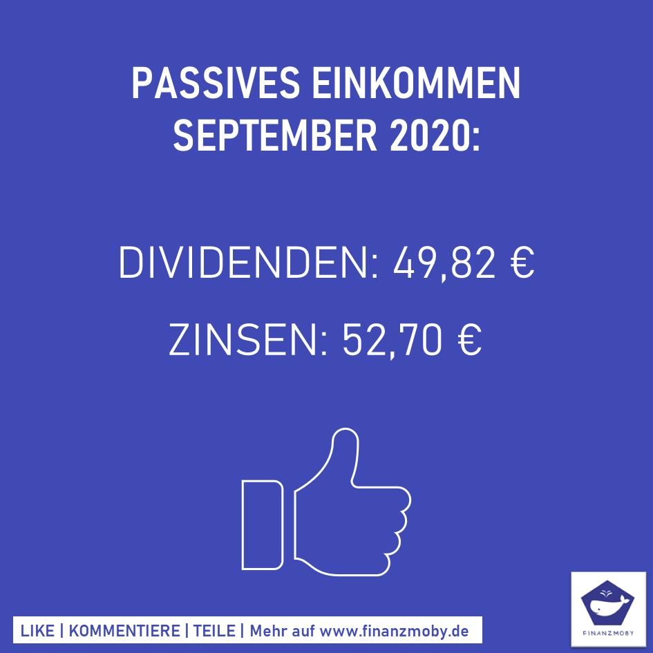 Passives Einkommen September 2020