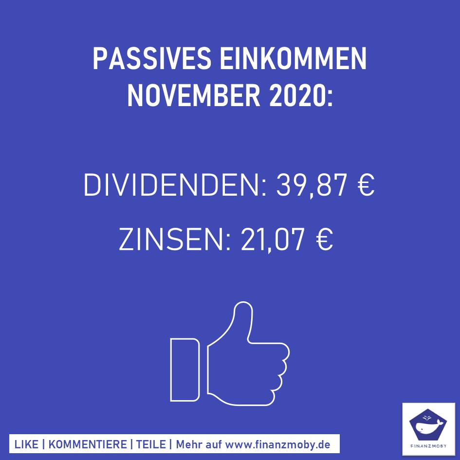 Passives Einkommen November 2020